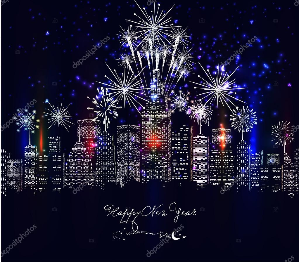 Happy new year with firework city at night