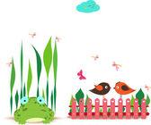 Plot s jarní pár ptáků a žába