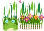 Recinzione con fiori bianchi e rana