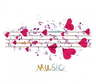 Music background with notes and hearts