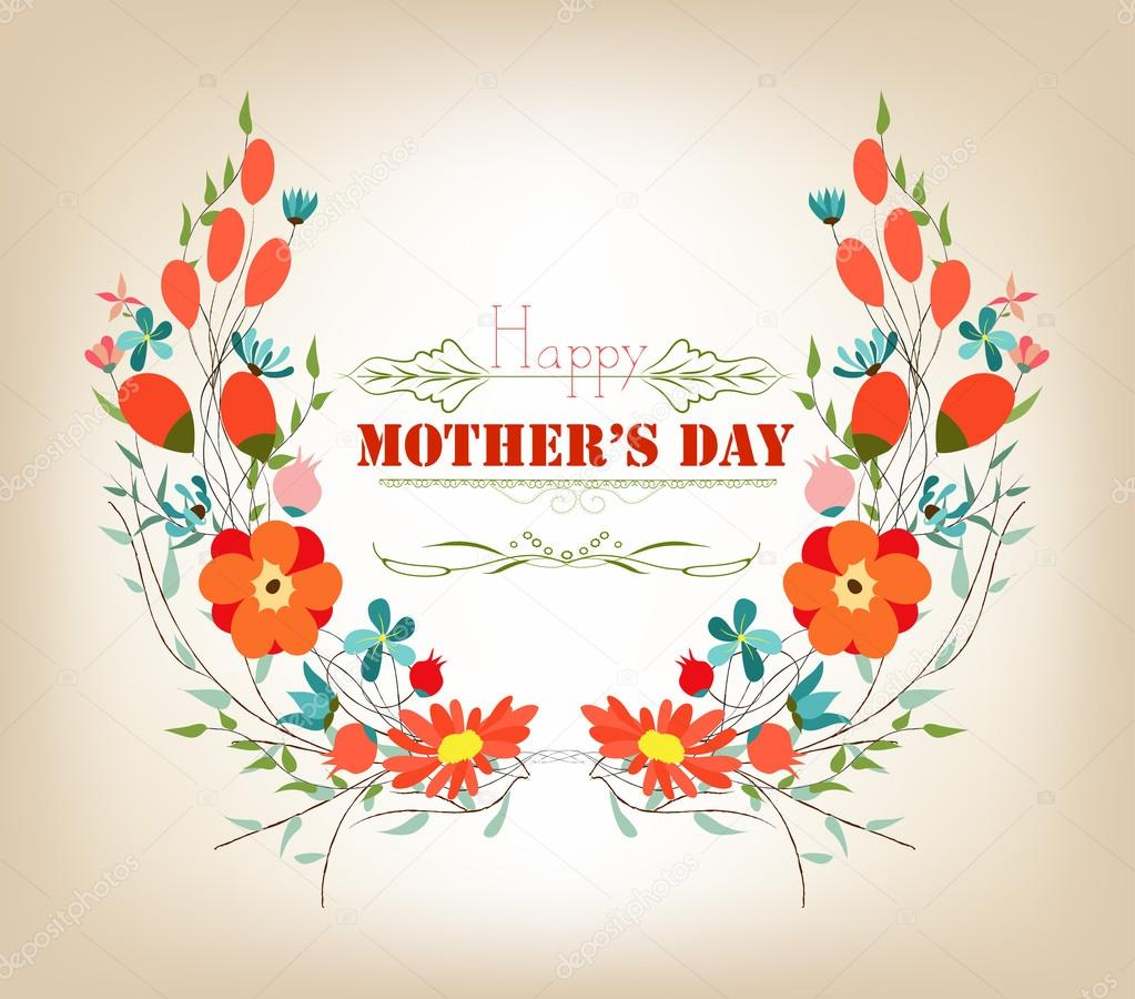 Floral background mothers day greeting card