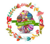 happy easter.Floral Frame. Cute flowers