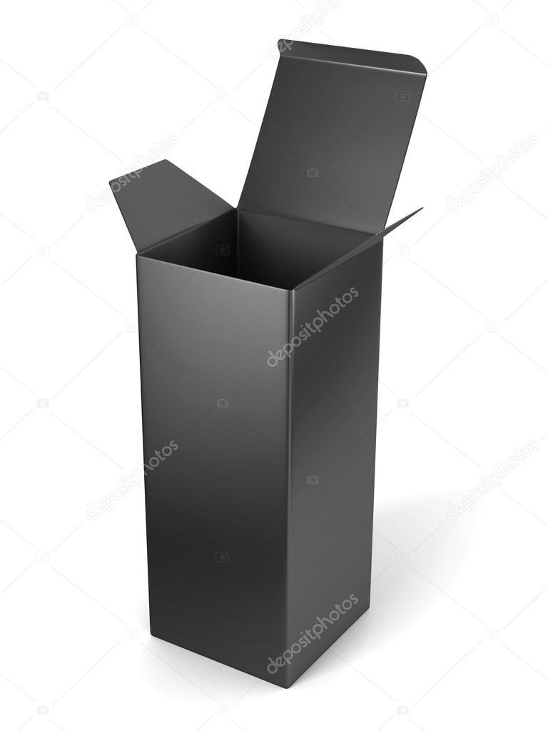 Caja cartón vertical abierta en blanco plantilla que está parado en ...