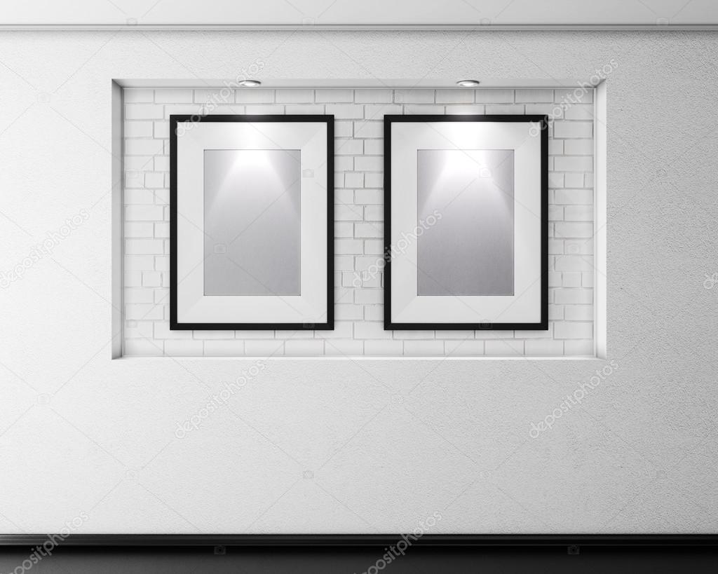 Nicho de ladrillo con dos marcos para cuadros y la iluminación. 3D ...