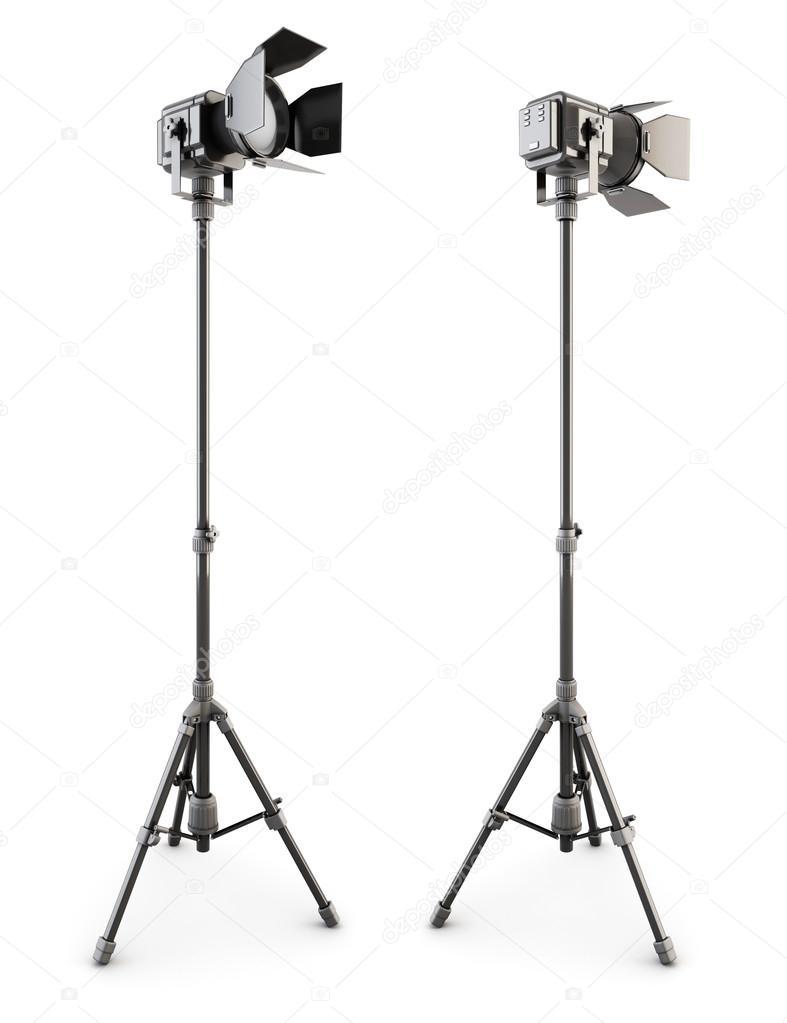 studio verlichting op statief op een wit 3d stockfoto