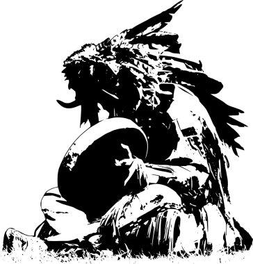 Indian shaman with bull head, illustration