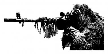 Sniper with camouflage suit on white background, illustration