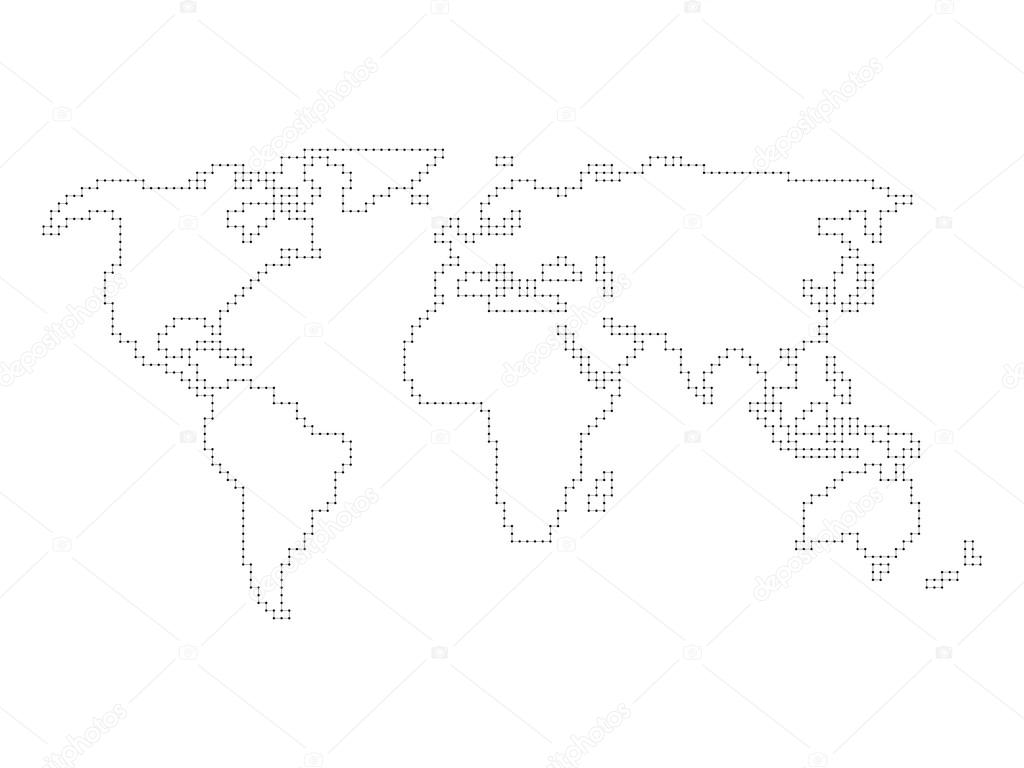 Vector world map angular outline stock vector pyty 103716562 vector world map outline made of perpendicular lines with black dots vector by pyty gumiabroncs Choice Image