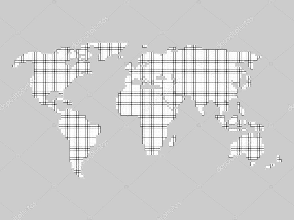 World map grid stock vector pyty 103721366 world map grid tiled by small squares with black outline and white fill on grey background vector by pyty gumiabroncs Gallery
