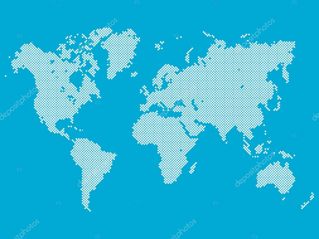 Dotted vector world map stock vector pyty 111782498 dotted map of world world map made of white dots in diagonal arrangement on blue background vector by pyty gumiabroncs Images