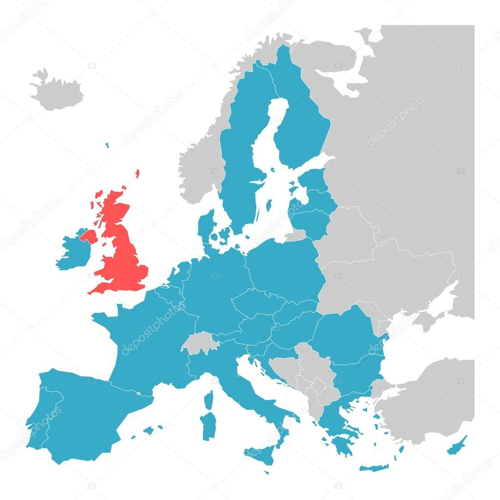 Brexit theme map european union with highlighted united kingdom brexit theme map map of europe with highlighted eu member states and united kingdom in different color vector illustration simplified map of european publicscrutiny Gallery