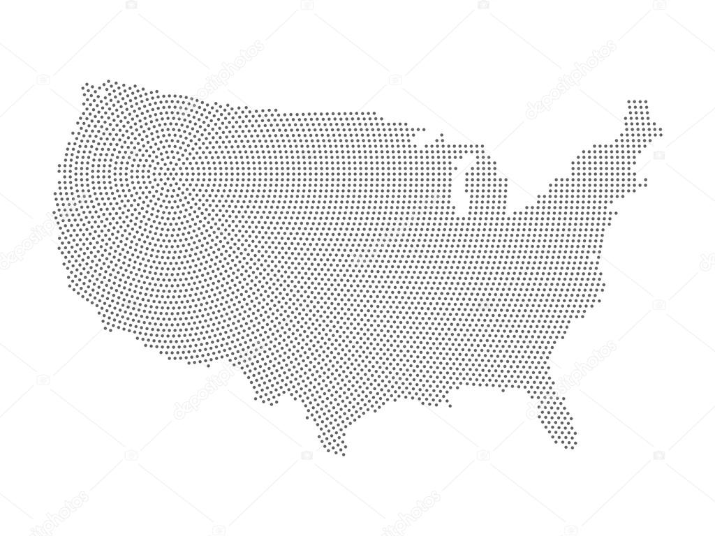 Line Art Usa Map : Usa map of radial halftone dots u stock vector pyty