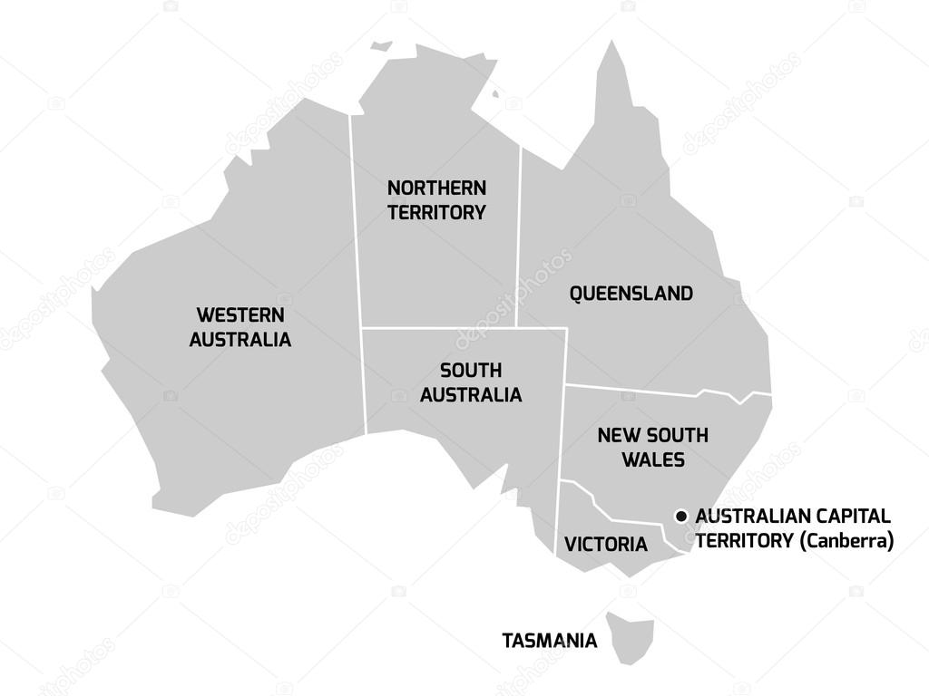 australia map with states and territories stock vector