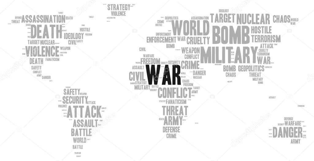 War word cloud stock vector pyty 80480190 war word cloud in a shape of world map silhouette vector by pyty gumiabroncs Choice Image