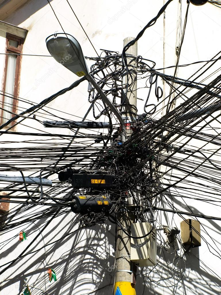 Many Wires On An Lamp Post Stock Photo Pyty 81127130 Electrical Wiring Of