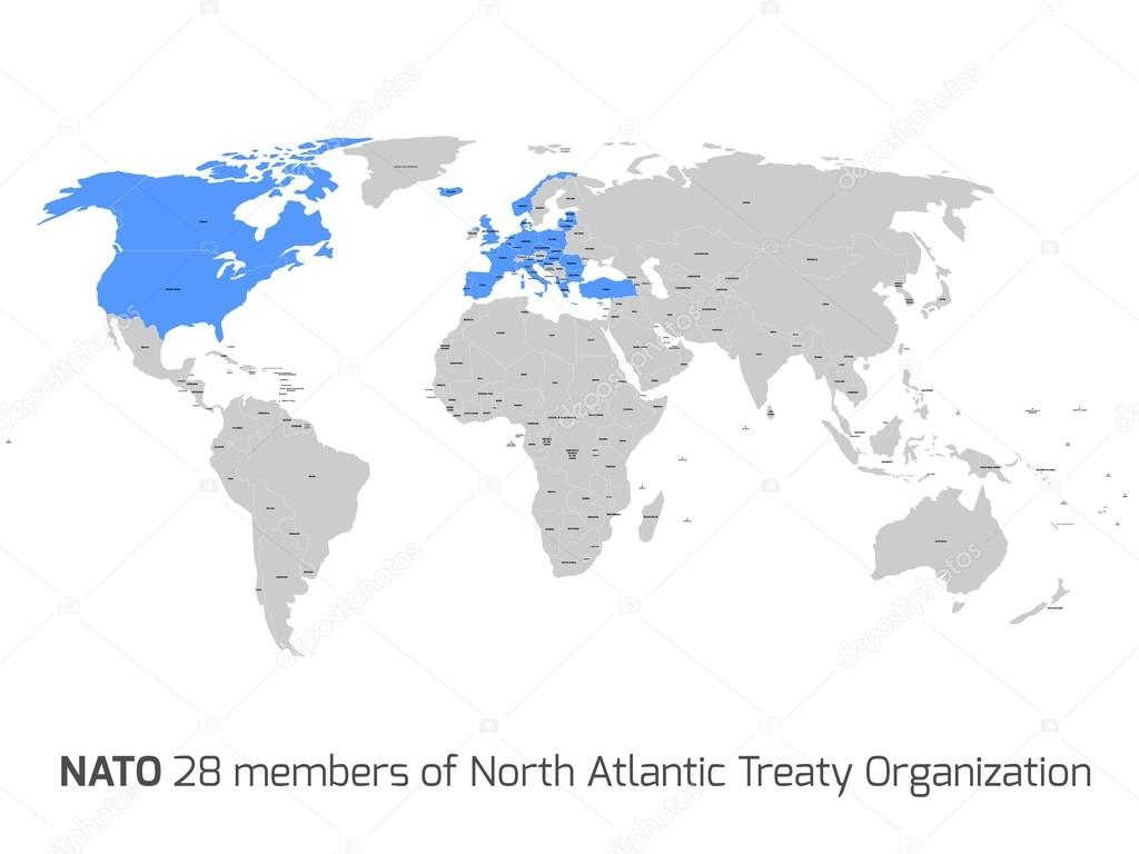 Nato member countries in vector world map stock vector pyty 28 nato member countries highlighted by blue in blank world political map vector by pyty gumiabroncs Choice Image
