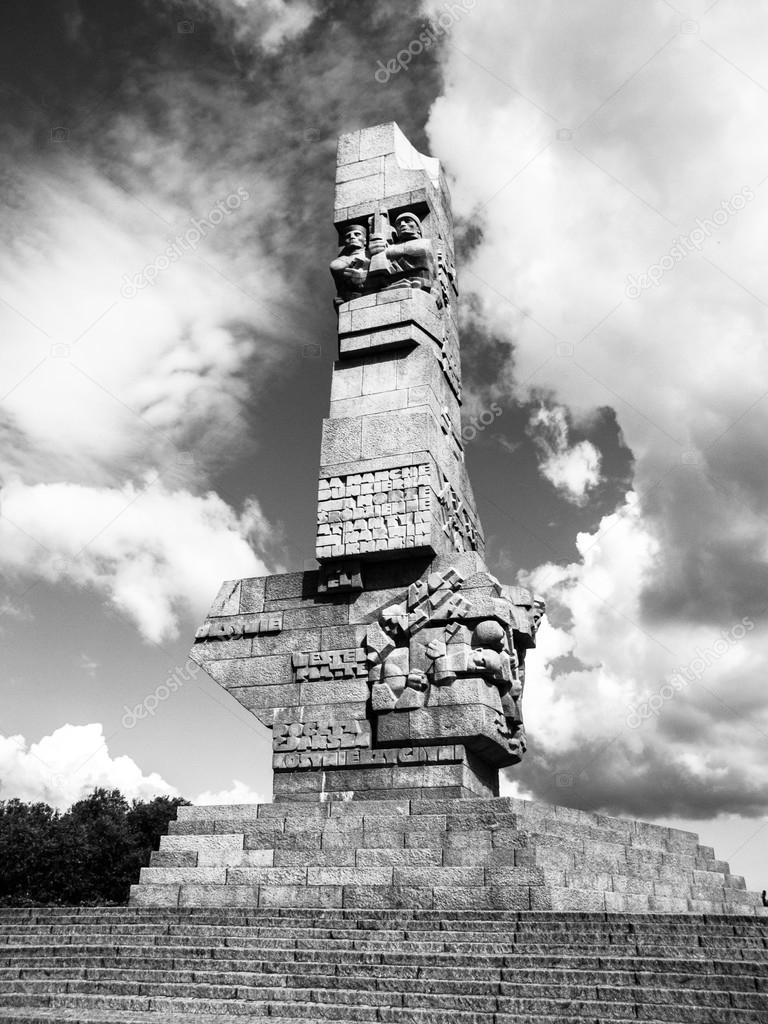 Gdansk poland circa 2014 monument on the westerplatte in memory of the polish defenders of gdansk in poland circa 2014 black and white image photo