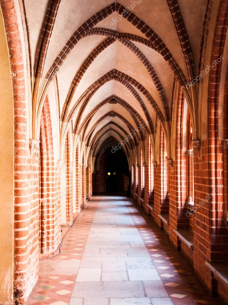 Cloister With Gothic Rib Vault Ceiling Stock Photo