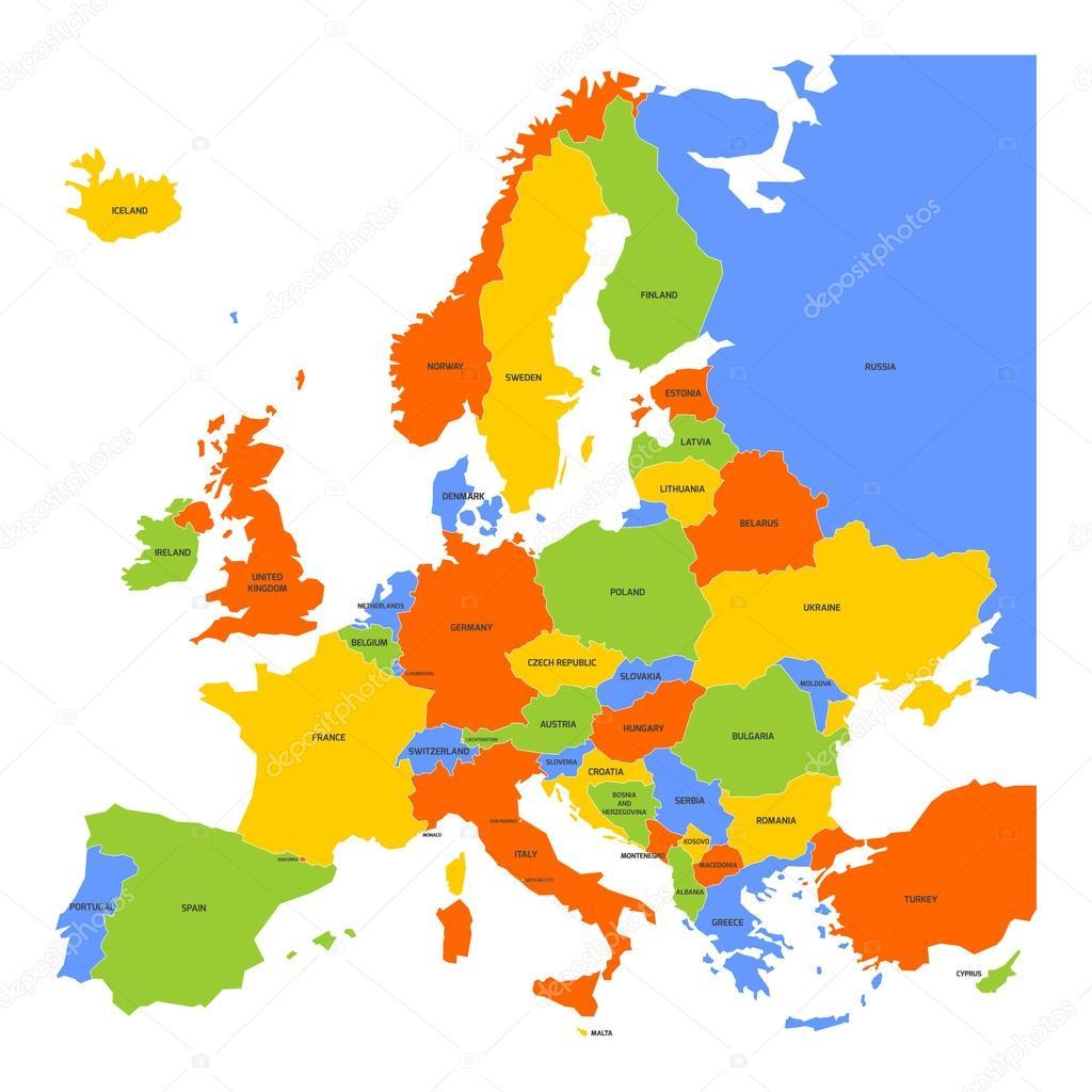 karta över europa map färgglada karta över Europa — Stock Vektor © pyty #96538912 karta över europa map