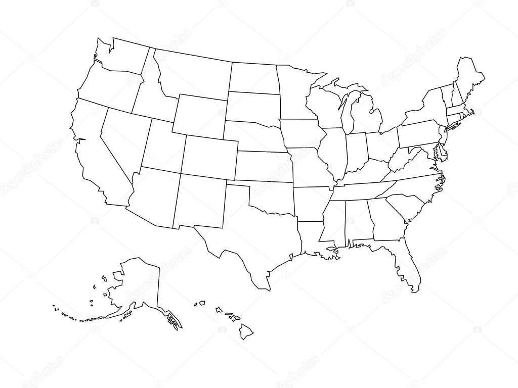 Outline map of usa with states | Blank outline map of USA ...