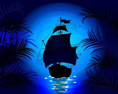 Amazing night landscape with sailing ship at sea on a background