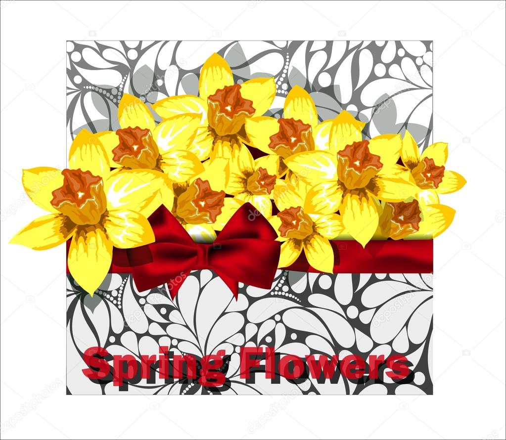 Beautiful arrangement of daffodils in the envelope with floral d
