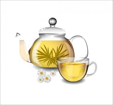 Transparent teapot and a cup of green tea.