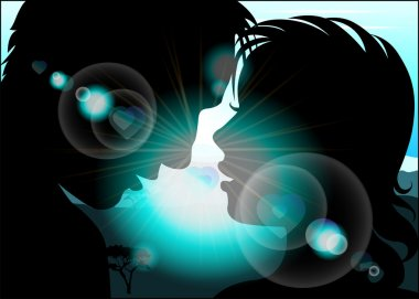 Silhouette of lovers on a background with sun rays and blue sky
