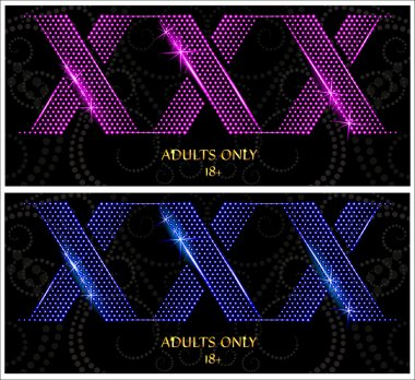 XXX glowing text on a dark background. Only adults.
