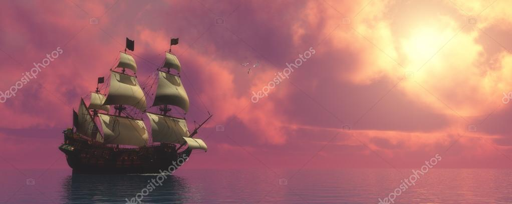 Galleon Ship with Sails