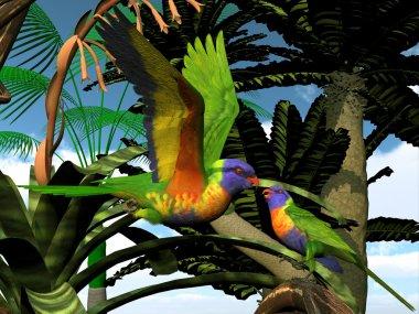 """Картина, постер, плакат, фотообои """"радужные лорикитовые попугаи """", артикул 83172290"""