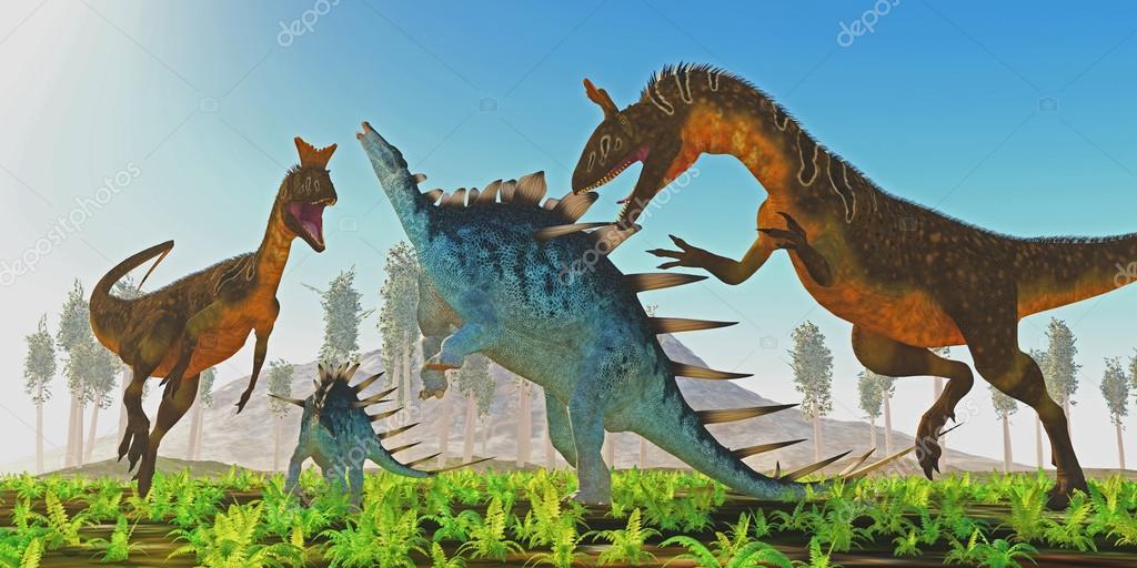 Cryolophosaurus attacks Kentrosaurus