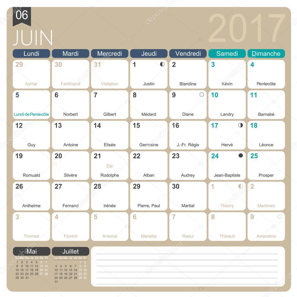 Français calendrier 2017 — Image vectorielle #105899142