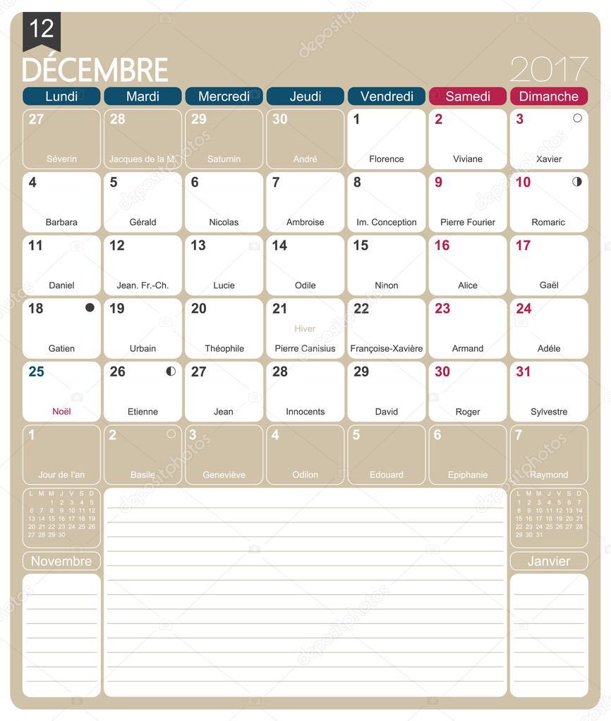 Calendario Lunare Dicembre 2017.Francese Calendario 2017 Vettoriali Stock C Hana11 106719574