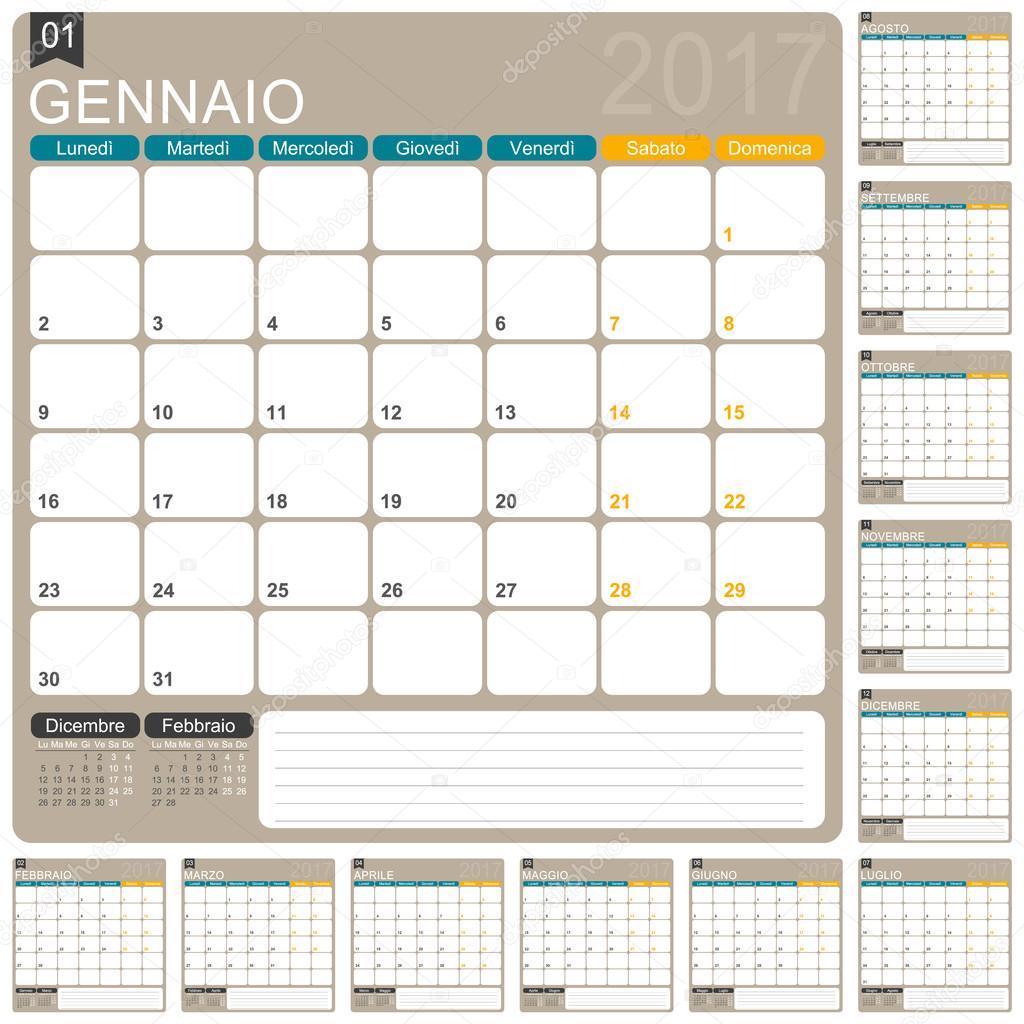 Italian Calendar 2017