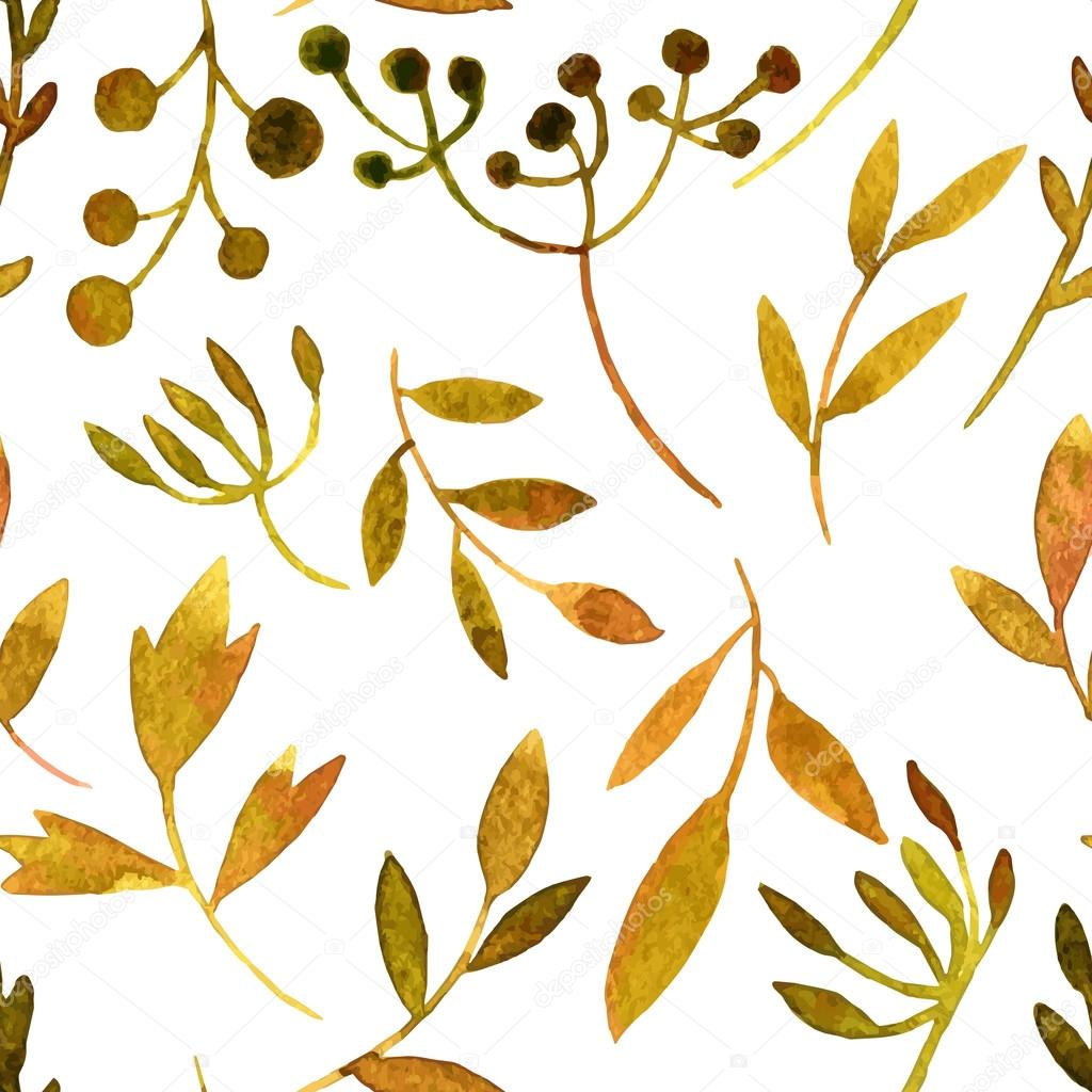 vector watercolor seamless pattern with leaves and branches