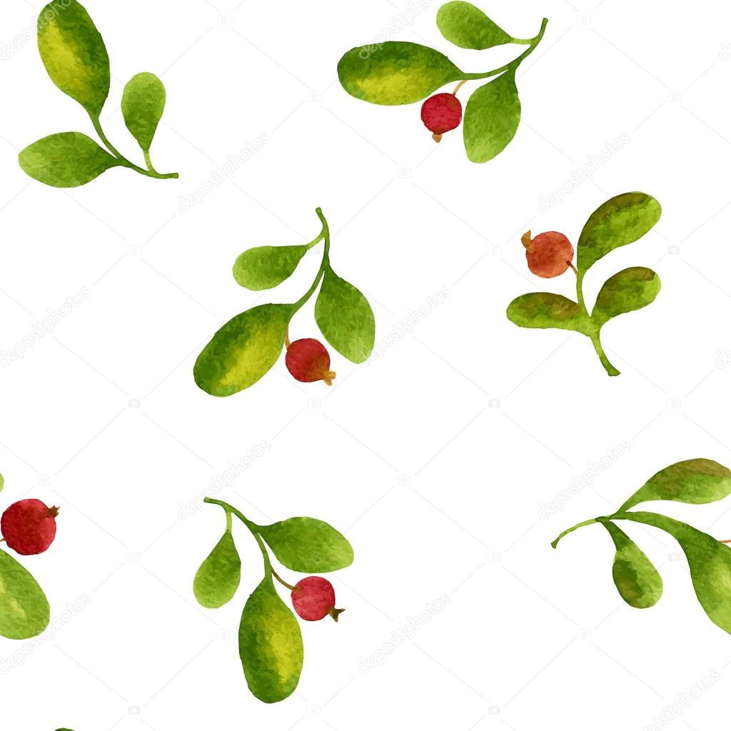 seamless pattern with watercolor green leaves and red berries