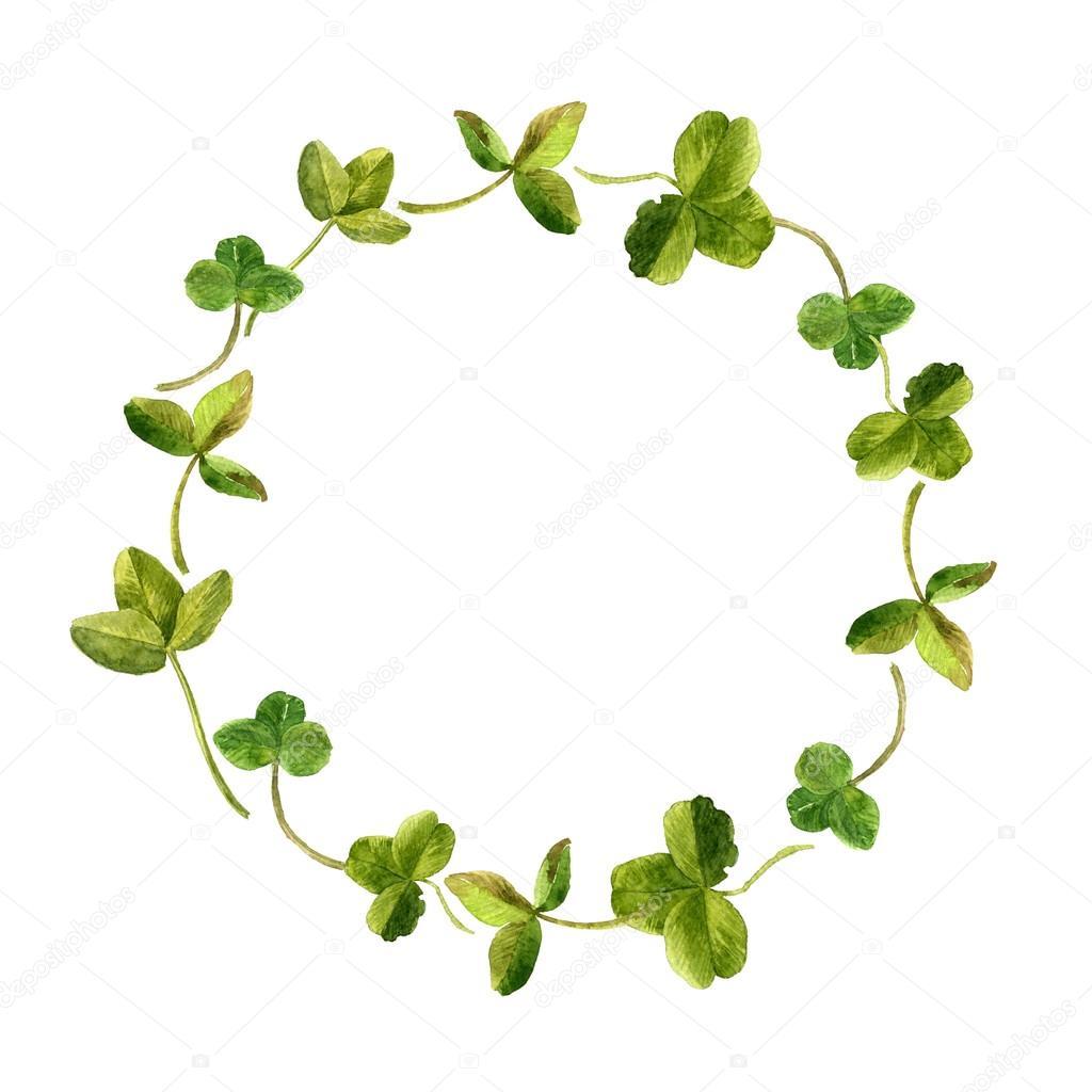 marco floral con acuarela dibujo Trebol hojas — Foto de stock ...