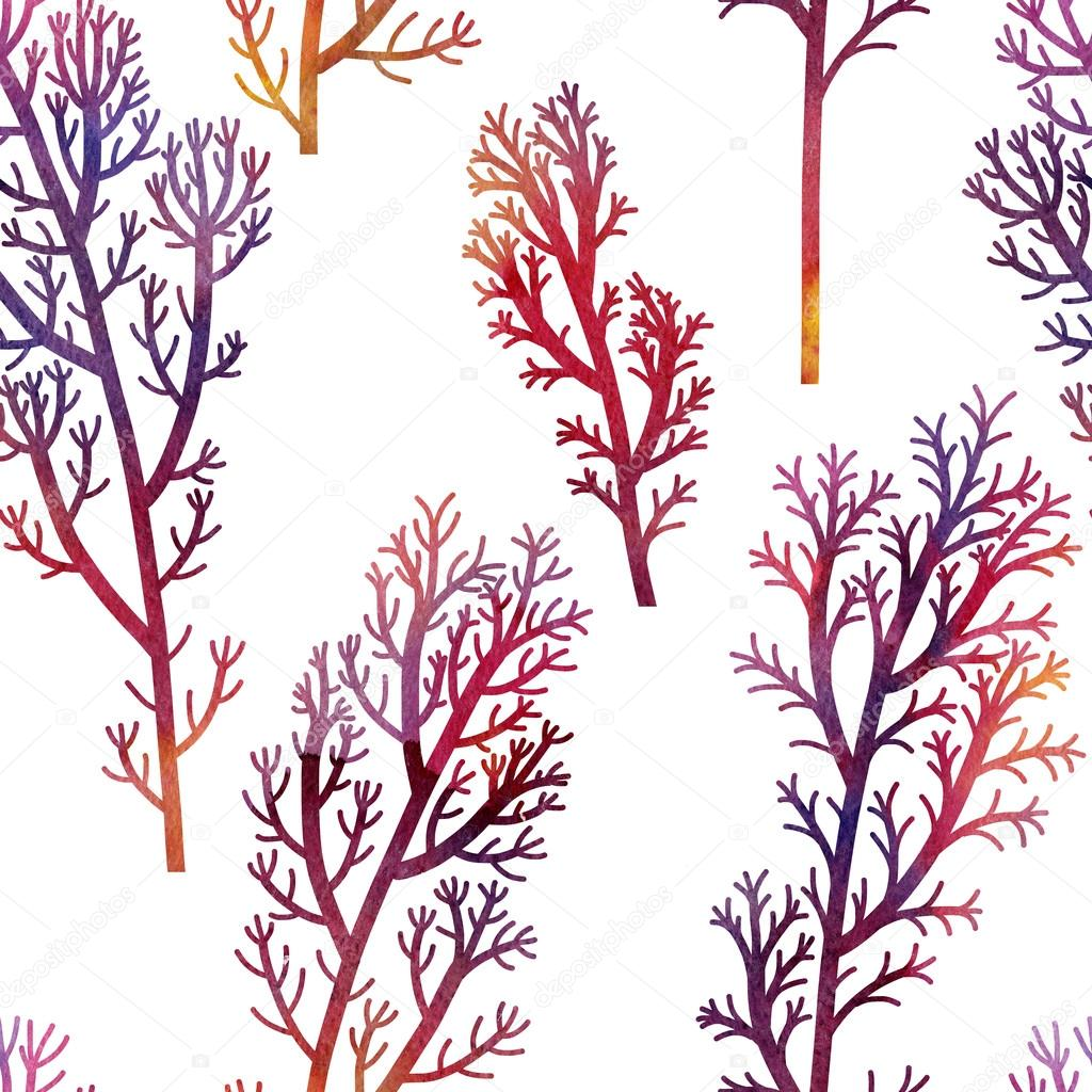 floral seamless pattern with plants and leaves