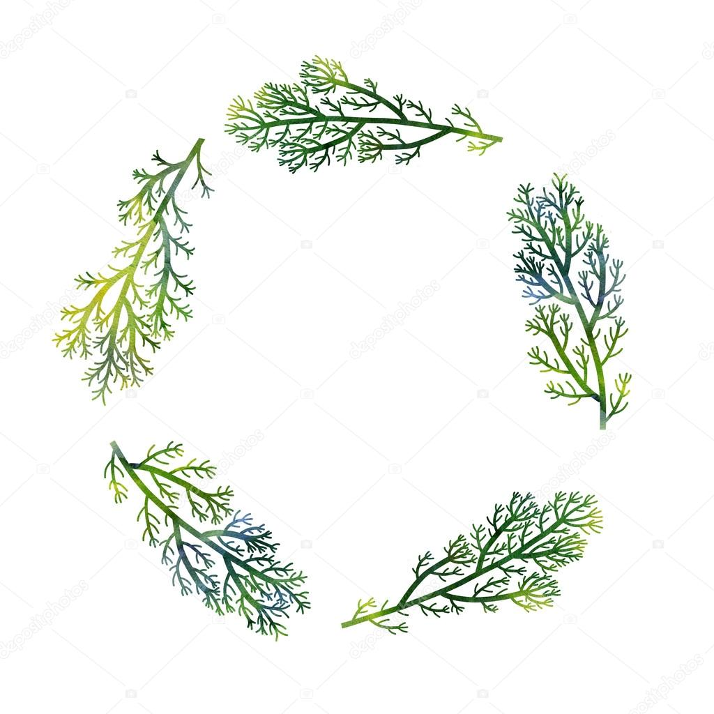 floral frame with green branches