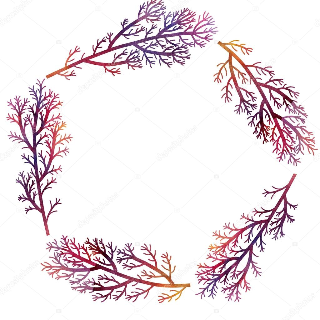 floral round frame with red branches