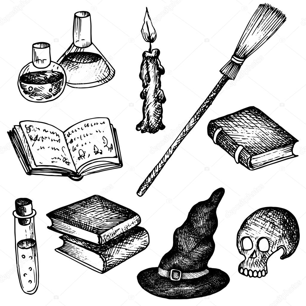 Vector magic set of objects for witch stock vector vector magic set human skull and blakc hat magician books and broom candle and flack with poisons cartoon halloween symbolshand drawn illustration buycottarizona