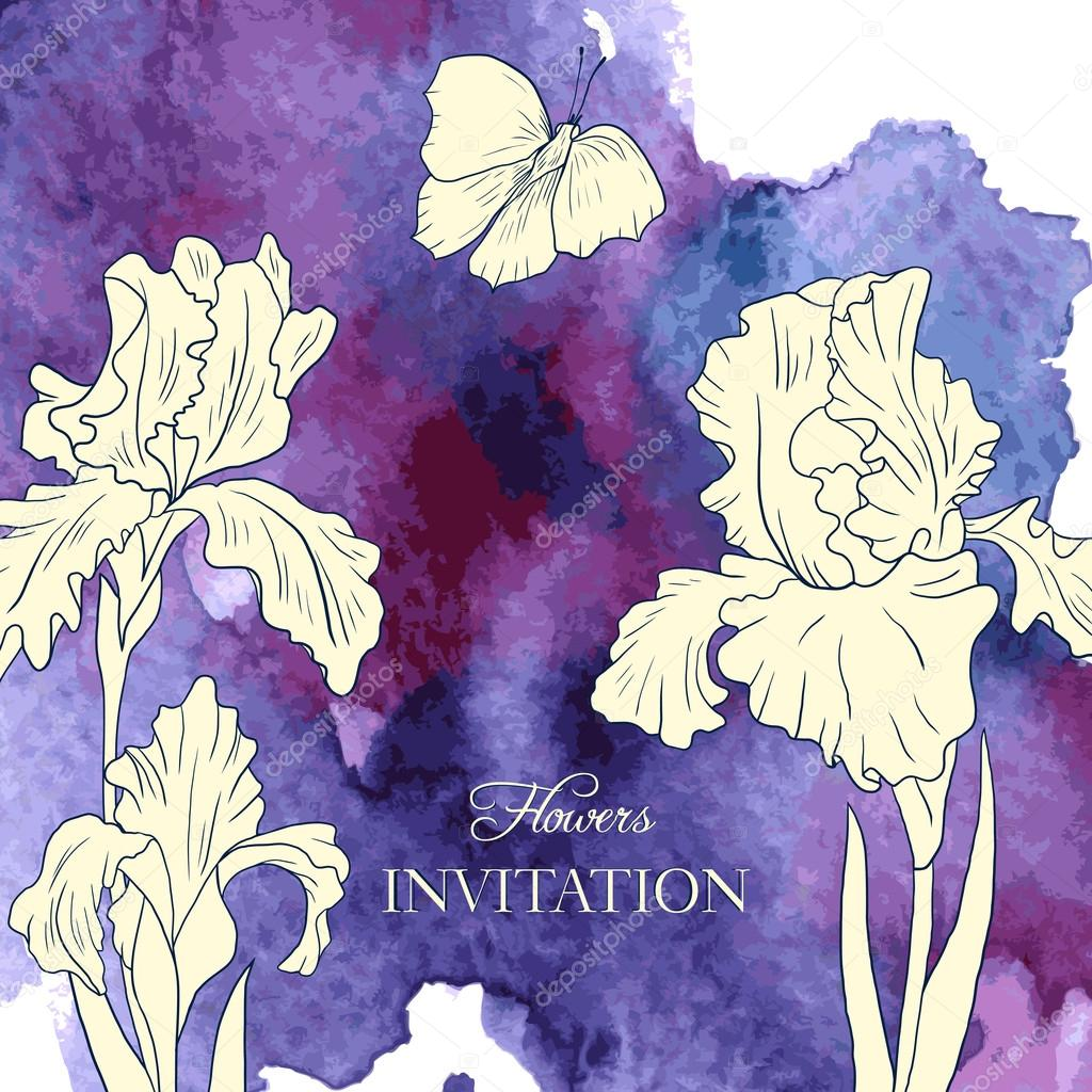 vector watercolor background with irises