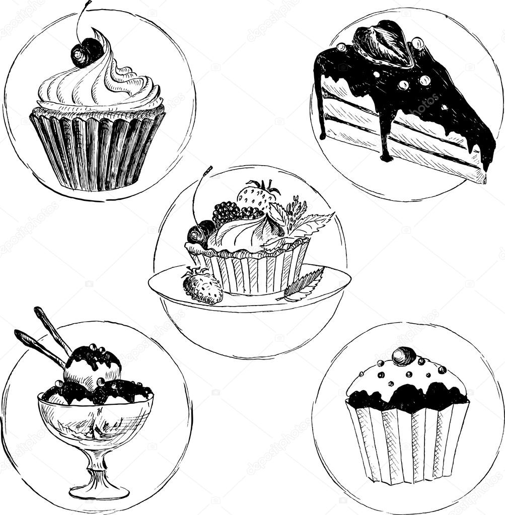set of hand drawn desserts