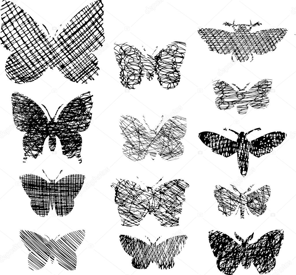 vector set of decorative butterflies