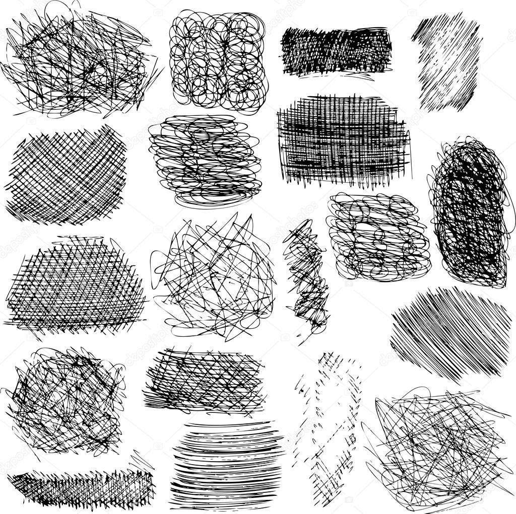 vector set of ink lines