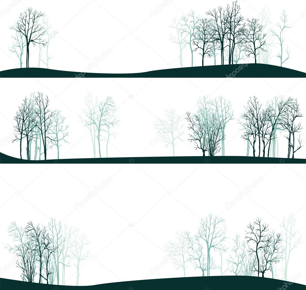 set of different landscapes with winter trees