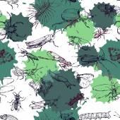 Fényképek varrat nélküli mintát a vonalas rajz rovarok