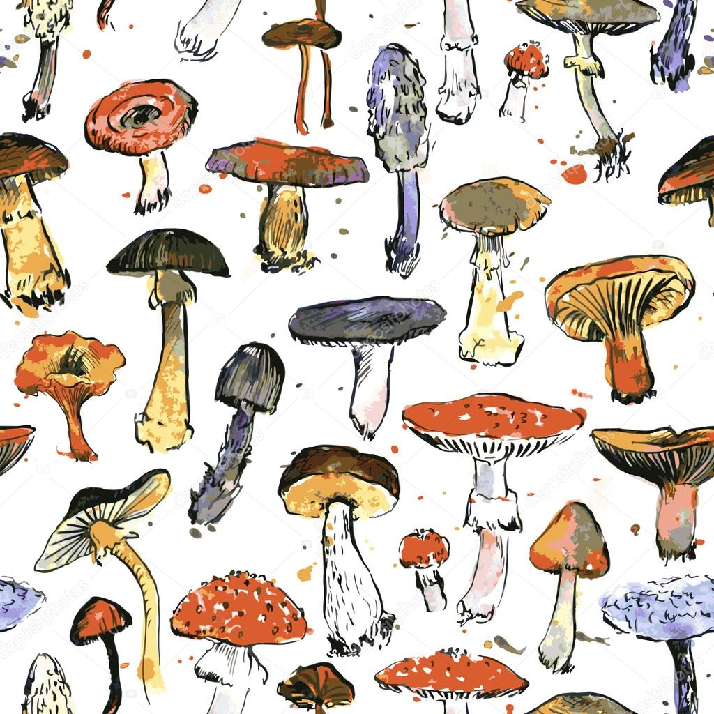seamless pattern with watercolor drawing mushrooms