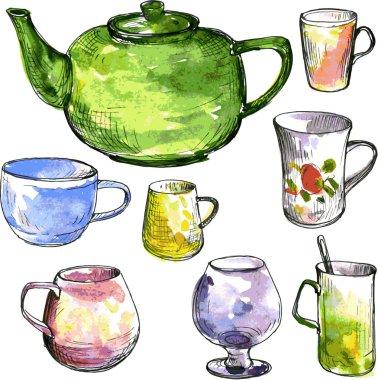 set of teacups and teapot
